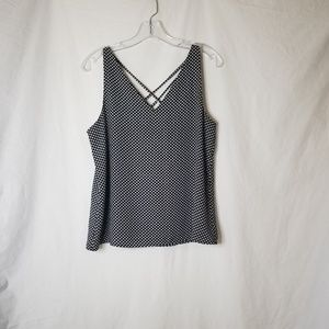 Express Black Sleevless Blouse White Polka Dots S